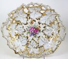 Antique Vintage Plate Oval Bowl Decorative Embossed Reticulated Gold Leaves
