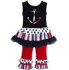 AnnLoren Little Girls 6/6X Anchor Tunic and Capri Outfit Nautical Clothing