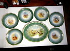 LIMOGES HAND PAINTED BIRD 6 SCALLOPED EDGE GILDED GAME PLATES AND 1 PLATTER SET