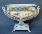 CAPODIMONTE -WHITE WITH FLOWERS  PEDESTAL OVAL BOWL- SEE PICTURES-VINTAGE- ITALY