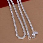 Fashion 2MM 4MM 925 sterling silver Chain Men Necklace 16 24 inch Free Shipping
