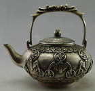 Collectible Decorated Old Handwork Tibet Silver  Carved Dragon Bat Tea Pot