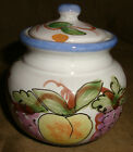 MAJOLICA Lemon Grapes Plum Cherry FRUIT Pottery SUGAR BOWL Made in Italy