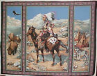 NEW Spring Industries Fabric Panel 3 Paneled Indian on Horse Buffalo Eagle Wolf