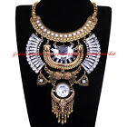 New Fashion Gold Chain White Glass Crystal Choker Statement Pendant Bib Necklace