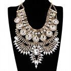 Fashion Gold Chain White Acrylic Crystal Choker Statement Pendant Bib Necklace