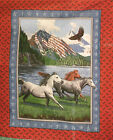 1 Yd Patriotic Quilt Fabric Wallhanging Panel Patriots Point Horses Eagles Flaw
