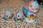 VINTAGE 1950's BLUEBIRD-GEO Z LEFTON-rhinestone piggy bank & salt pepper lot