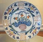 Rare Antique 18th C Delft Pottery Plate w Hand Painted Flower Basket