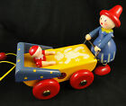 Vintage Wooden German Pull Toy Mom Pushing Baby in Carriage by Walter