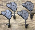 2 DOG COAT LEASH HOOKS 6x4 Cast Iron Rustic Antique Style Wall Hat Rack