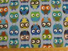 Owl Allover Blue Fabric END BOLT REMNANT 3 YD selvage flaw CLEARANCE baby cotton
