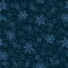 Winter Frost Holiday Quilt Fabric Navy Snowflakes 46
