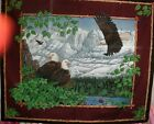 Wild Life Quilt Fabric Wall Hanging Panel Eagle Mountains Nest Burgundy BTY