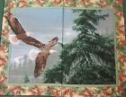 Wild Wings Soaring Eagle Quilt Panel Top Fabric green pine cone border COTTON