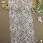 1Y Beige Floral Stretch Lace Fabric DIY Wedding Trim Doll Dress Craft L2384