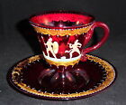 Old Antique Ruby Red Moser  Bohemian Glass Cup  Saucer w Warriors