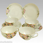 1918 4 Sets of Cups and Saucers in AZALEA Flowers Handpainted by Noritake Green