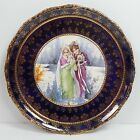Antique Colbalt Blue & Gold Scenic Pottery Wall Charger Plate Girls Holding Cat