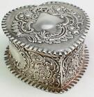 Stunning Durgin Watteau Antique Sterling Heart Shaped Vanity Box Antique Rococo