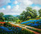 Wall Art Oil painting Picture Texas Bluebonnets Landscape on canvas 20