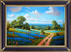 Hot! Handmade Oil Painting Landscape Texas Bluebonnets on Canvas 24X36 Inch