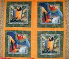 Wild Life Jungle Parrot Pillow Panel Butterfly Forest Bright Colorful Gold BTY