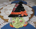 FITZ & FLOYD HALLOWEEN GREEN FACE WITCH CANAPE PLATE BAT