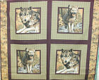1 Yd Quilt Fabric Wild Life Pillow Panel Wolf Wolves Plaid Border Autumn