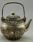 Collectible Decorated Old Handwork Tibet Silver Carved Bring Money C0in Tea Pot