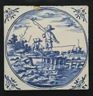 VINTAGE DELFT BLUE WESTRAVEN TILE WITH TWO FISCHING MEN IN CIRCLE