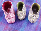 3 sanded majolica shoes slippers pair and spare antique