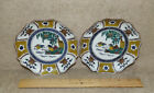 2 Vintage Kutani Hand Painted Decorative Wall Plaques Plates Ducks Birds