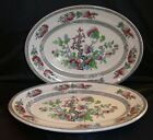Pair VTG Enoch Woods Hand-Painted Indian Tree Staffordshire Serving Platters NR