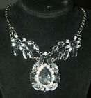 Fashion Glass Crystal Pendant Choker Chunky Statement Charm Bib Chain Necklace