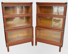 Pair Globe Wernicke Sectional Three High Oak Bookcases with Deeper Bottom