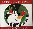 Fitz & Floyd Frosty's Frolic Christmas Canape Plate 9 1/4 Inch Porcelain In box