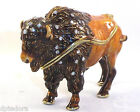BISON BEJEWELED HINGED TRINKET / JEWELRY /  PILL BOX