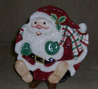 Fitz & Floyd Essentials Plaid Christmas Santa Canape / Cookie plate 8 1/2