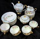 1950s Vintage 26 Piece Hand Painted Dessert Set - Pink Roses and Green Leaves