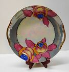 Vintage Lusterware and Iridescent Plate with Pink Flowers Gold Handles Japan