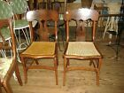 Pair Early Crotch Mahogany Cane Seat Chairs Vintage Antique Side