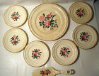 Vintage Harker Pottery Co. Made in the USA Floral Cake Set with 22 Kt. Gold Trim