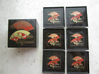 Vintage Oriental Japanese Laquer Coaster box set of 6 black with rust/gold fans