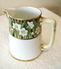 Nippon Hand Painted Pitcher Green and Gold Beaded Trim Marked 75 - 100 Years Old
