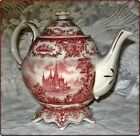 FULL SIZE Victorian ROMANCE Red Transferware TEAPOT Fancy Fluted Base 15959