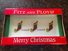 Fitz and Floyd Merry Christmas STOCKINGS Canape Plate Snack Candy Sweets NEW