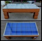 Art Deco Blue Lined Shadow Box Coffee Table Pillared Legs Display Glass Top