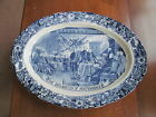 The Declaration of Independence Oval Turkey Platter Blue Transferware White 20