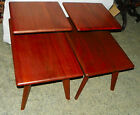 Pair of Solid Walnut Mid Century Step End Tables / Side Tables  (T504)